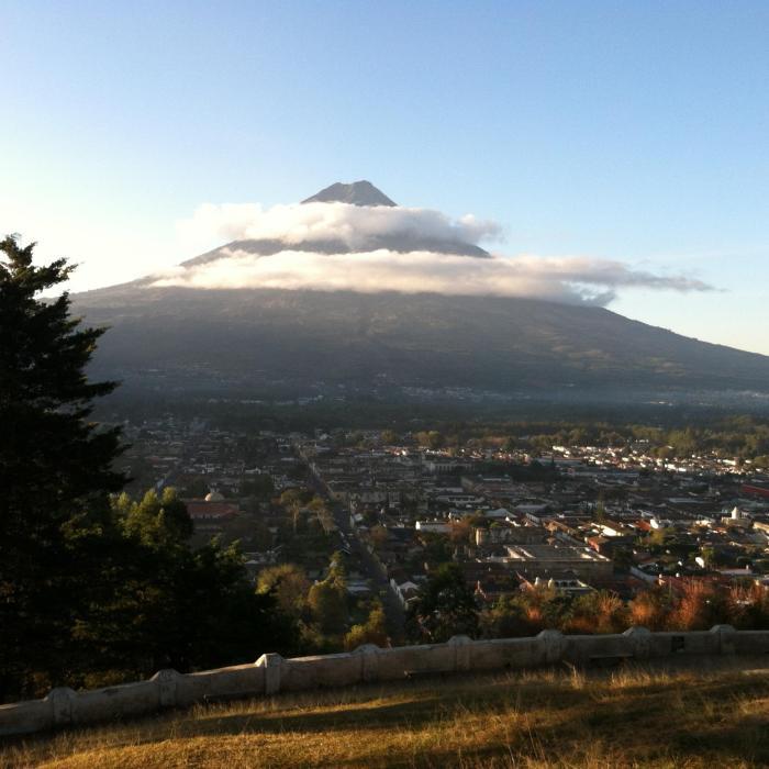 Agua Volcano looms over Antigua Guatemala to the south, as seen from Cerro de la Cruz to the north.