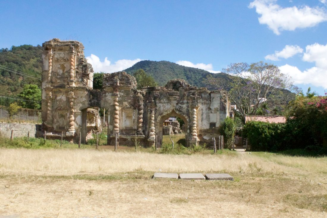 The ruins of the church in the Candelaria section of Antigua, Guatemala.