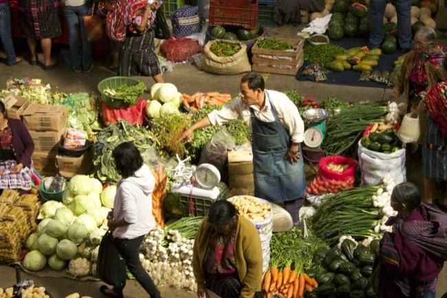 The produce market at Chichicastenango.