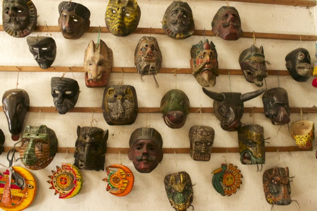 A wall of masks