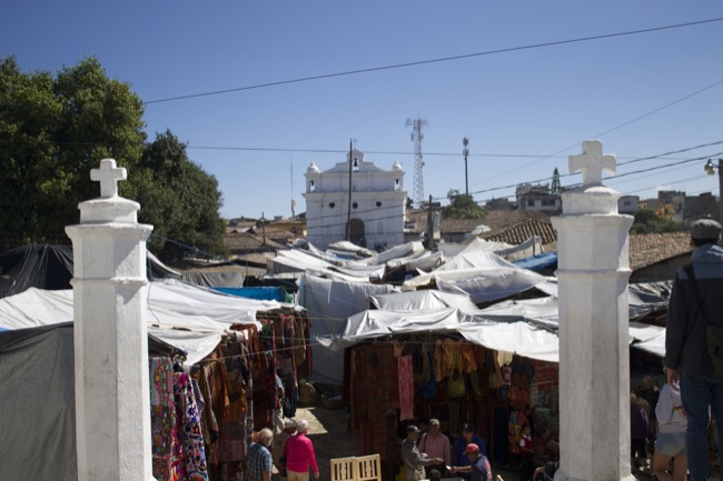 A view from the Calvary Chapel over the market toward the Church of Saint Thomas.