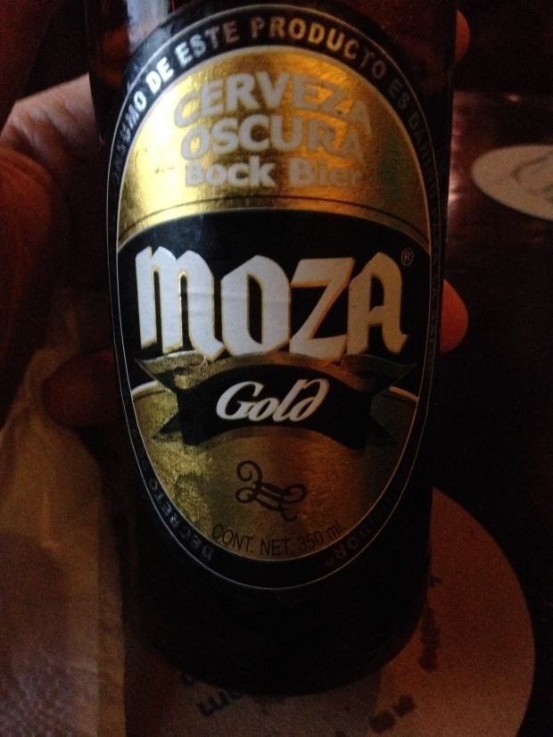 Moza Gold, a Guatemalan beer, at Frida's