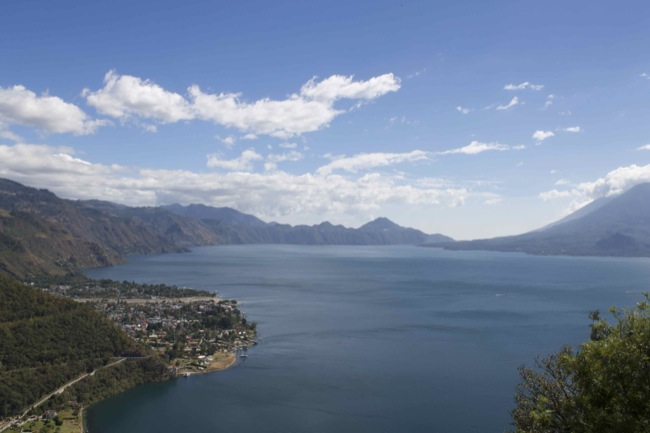 Lake Atitlán as seen from the road in the hills above the town of Panajachel, Guatemala.