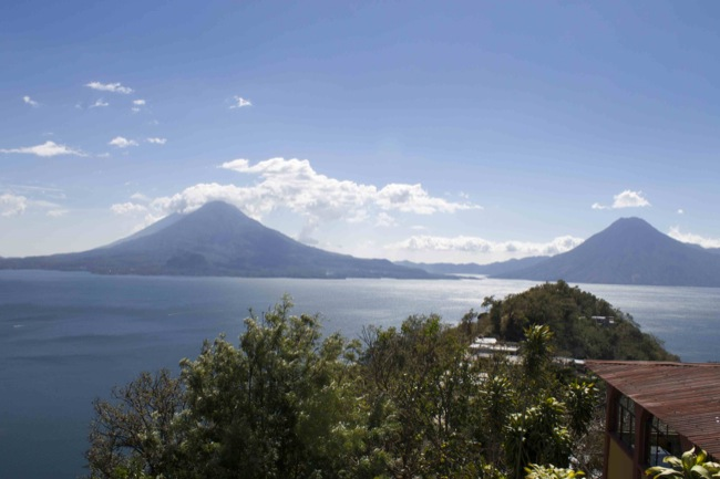 A view of Lake Atitlán, with the Atitlán Volcano to the left and the San Pedro Volcano to the right.