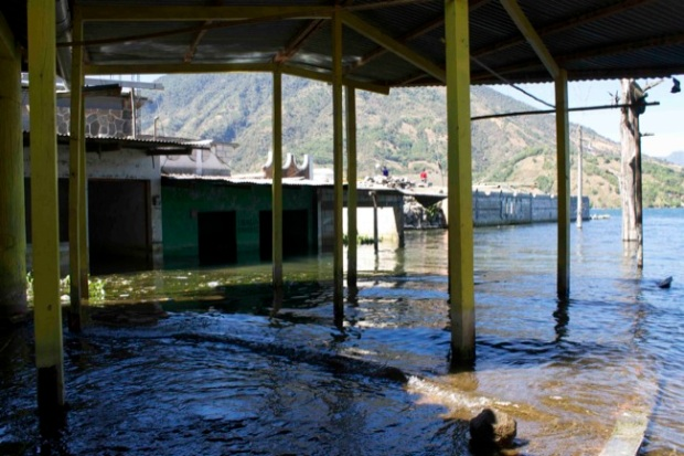 Buildings near the dock of Santiago that have been partially submerged because Lake Atitlán's water levels are on the rise.