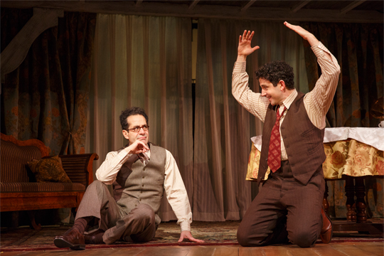"Tony Shalhoub as George S. Kaufman and Santino Fontana as Moss Hart in ""Act One"" at Lincoln Center (Photo by Joan Marcus)"