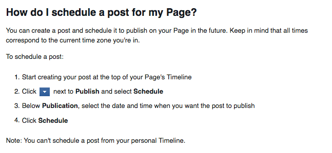 Facebook scheduling instructions
