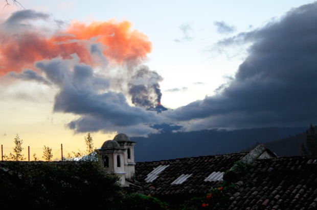 Fuego Volcano erupts near Antigua, Guatemala, with clouds turning black with ash and red with fire