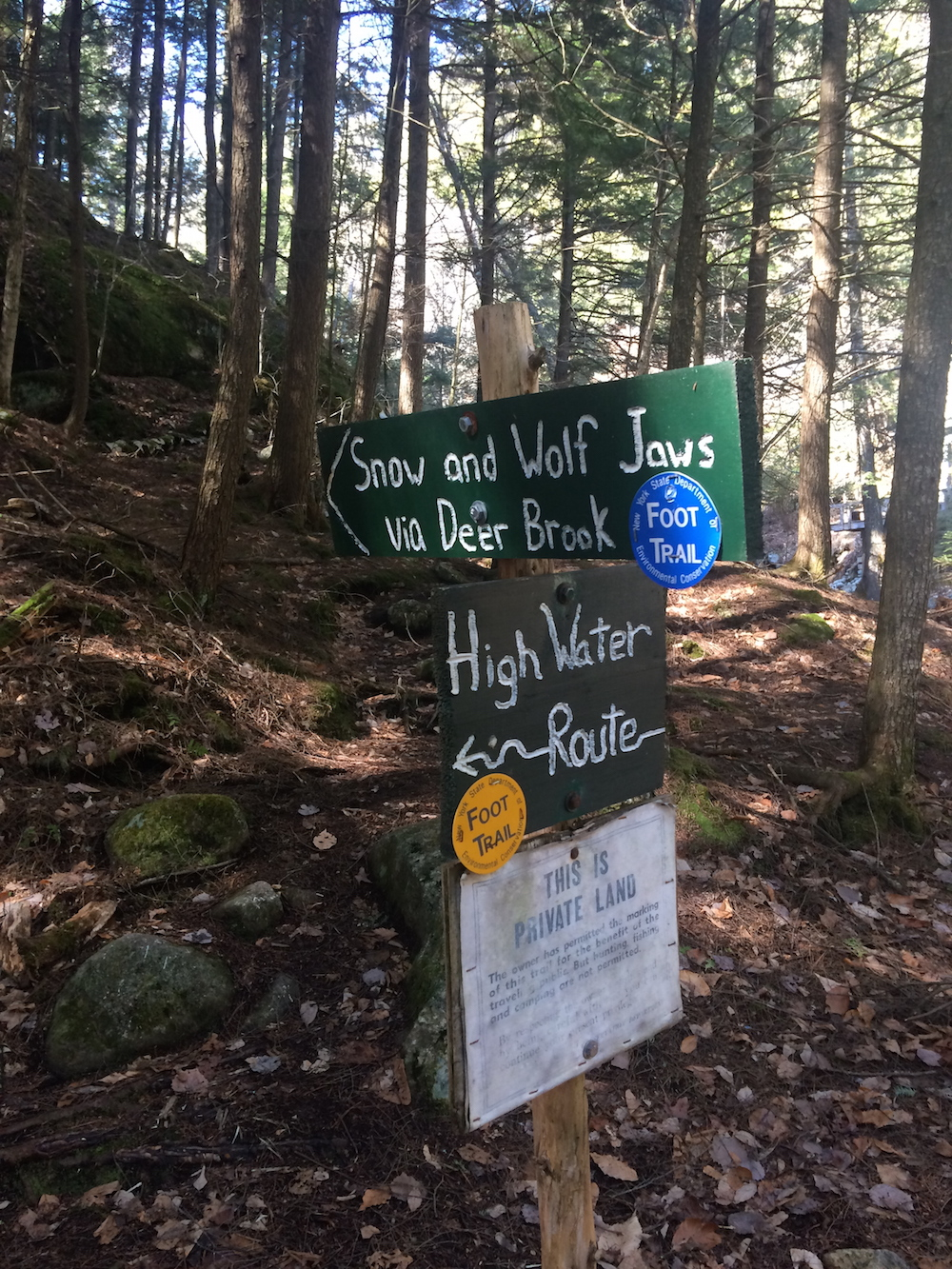 Signs on a hike for Snow and Wolf Jaws trails, and Deer Brook Trail, and the High Water Route