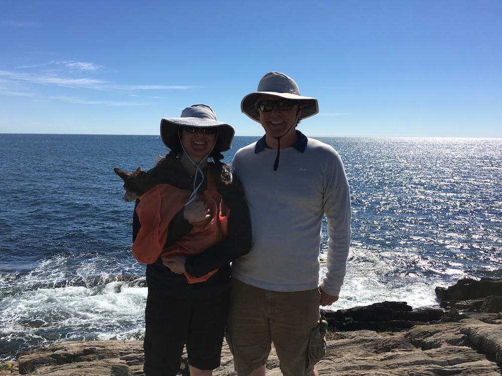 Vesta, Deb and Michael on the rocky coast of Maine