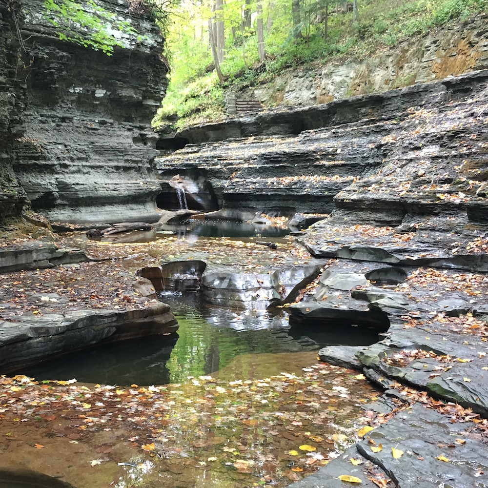 Low water and worn rock at Buttermilk Falls, Ithaca, New York