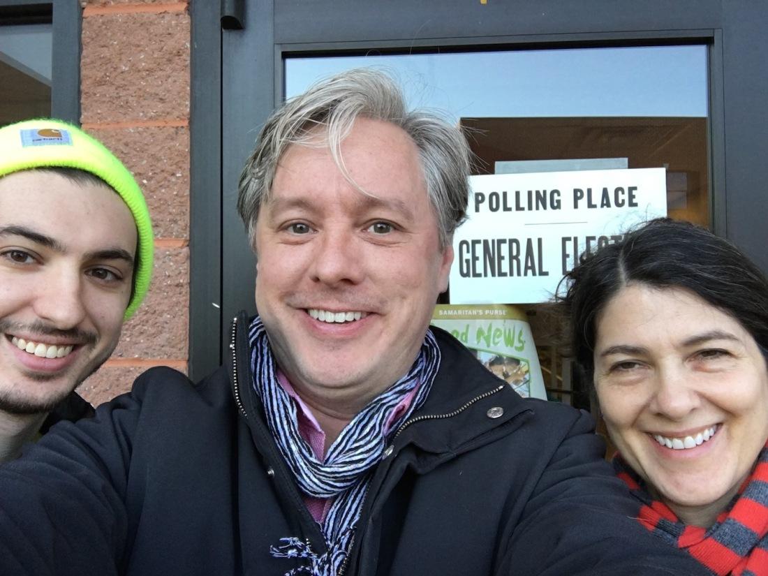 Max Seiler, Michael Janairo, Deborah Zlotsky post outside voting site in Delmar, New York