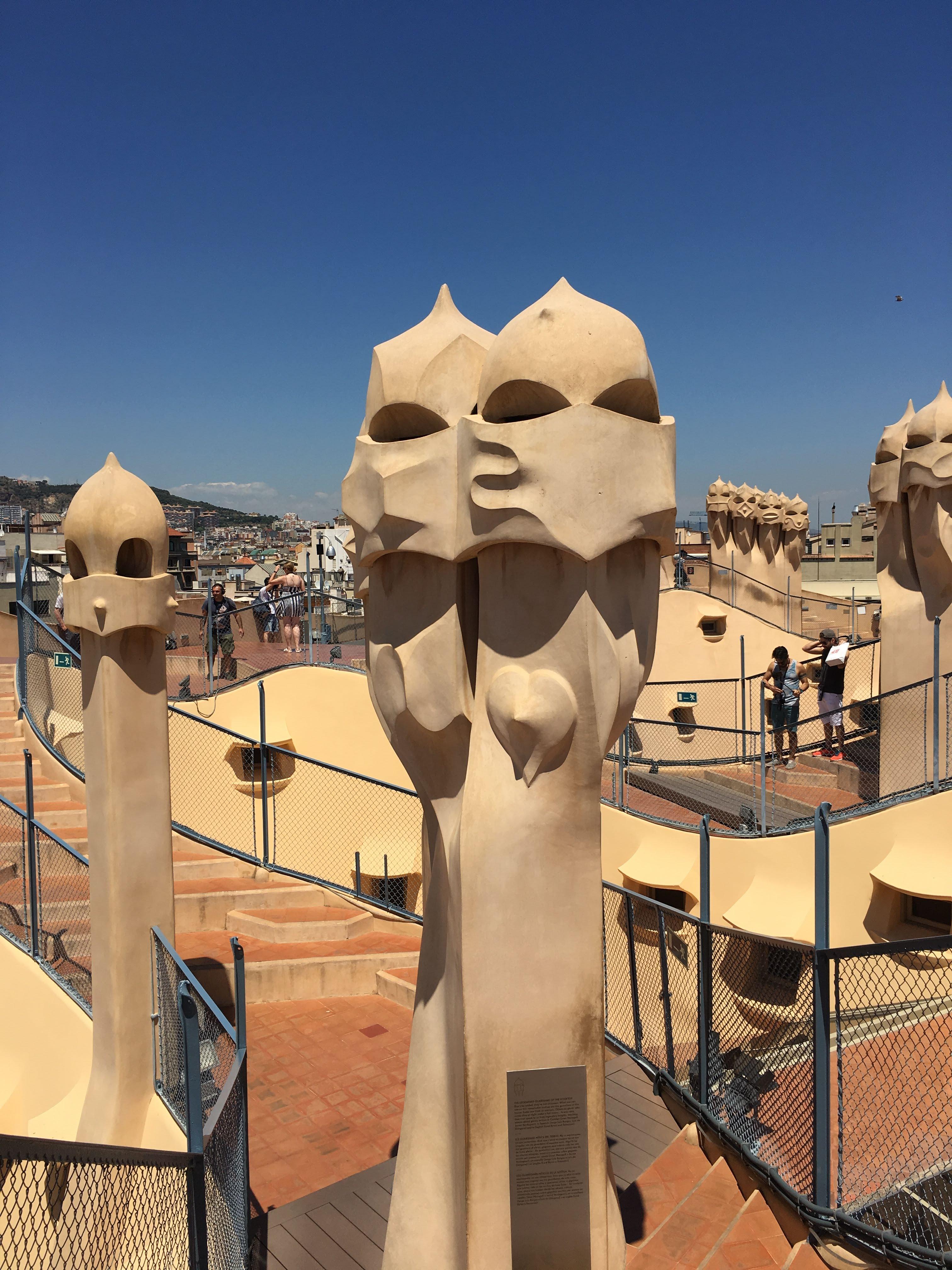 Guardians on the Roof Terrace of La Padrera, aka Casa Milá, by Antoni Gaudí, Barcelona, Spain, June 2018