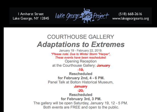 "A screengrab of an email invitation for an art exhibition called ""Adaptations to Extremes"" in which the opening reception and panel talk have been rescheduled because of a winter storm."